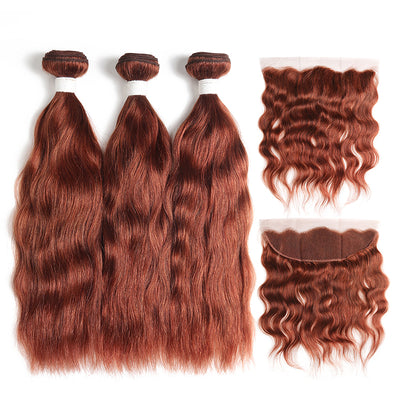 Natural Wavy 33 Human Hair 3 Bunldes with one 4×13 Free/Middle Part Lace Frontal (33) (4252343861318)