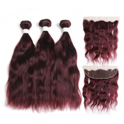 Natural Wavy 99J Human Hair 3 Bunldes with one 4×13 Free/Middle Part Lace Frontal (99J)