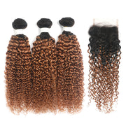 Kinky Curly Ombre Ginger Brown 3 Bundles with 4×4 Lace Closure(T1B/30) (4375205314630)