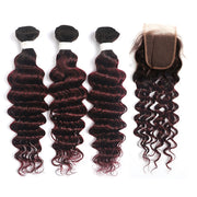 Ombre Maroon Red Deep Wave 3 Hair Bundles with One Free/Middle Part 4×4 Lace Closure(T1B/99J) (4337388486726)