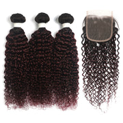 Ombre Maroon Red kinky curly 3 Hair Bundles with One Free/Middle Part 4×4 Lace Closure(T1B/99J) (4339275497542)