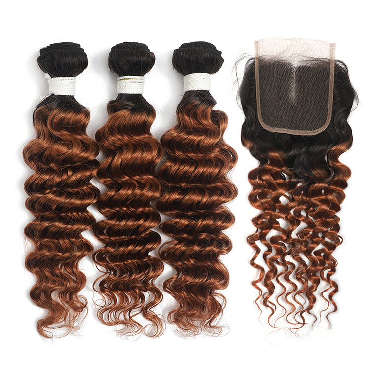 Deep Wave Ombre Ginger Brown 3 Bundles with 4×4 Lace Closure(T1B/30) (4374947299398)