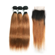 Ombre 30 Straight 3 Human Hair Bundles with One 4×4 Free/Middle Lace Closure (4251445526598)