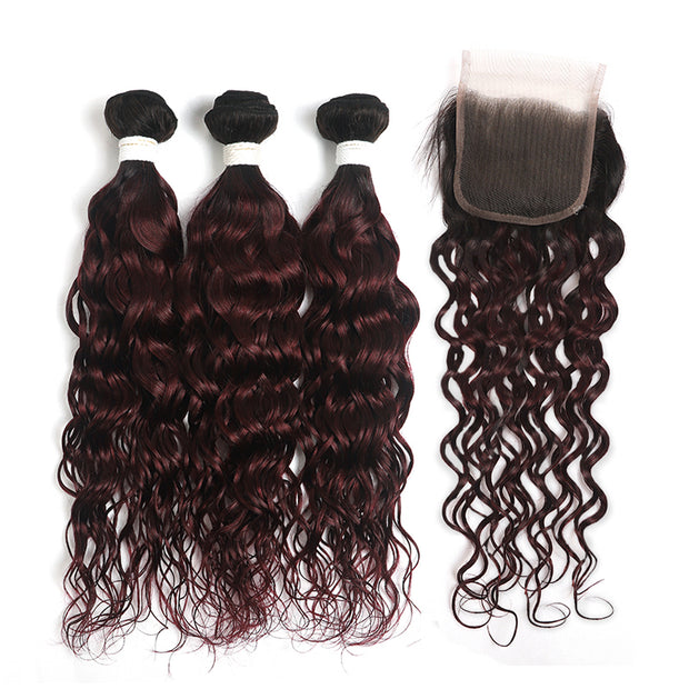 Ombre Maroon Red Water Wave 3 Hair Bundles with One Free/Middle Part 4×4 Lace Closure(T1B/99J) (4339230801990)