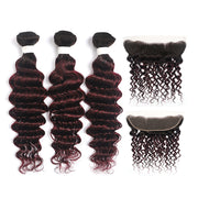 Ombre Red Wine Deep Wave 3 Hair Bundles with One Free/Middle Part 4×13 Lace Frontal(T1B/99J) (4337393139782)
