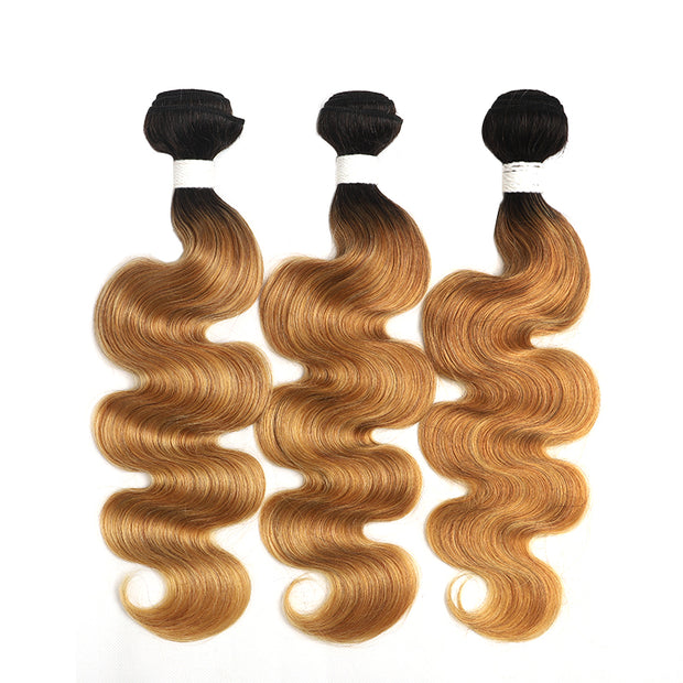 Ombre 27 Body Wave Three Human Hair Bundles 8''-26'' (4249214976070)