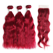 Natural Wavy Burgundy Red Human Hair 3 Bunldes with one 4×4 Free/Middle Part Lace Closure (BURG)