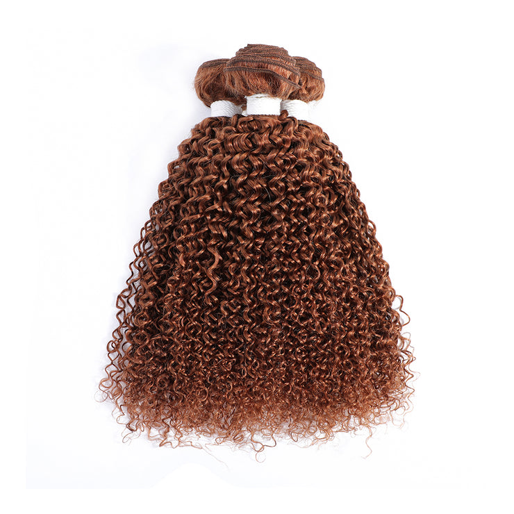 Light Brown 3 Human Hair Bundles Kinky Curly (30#)