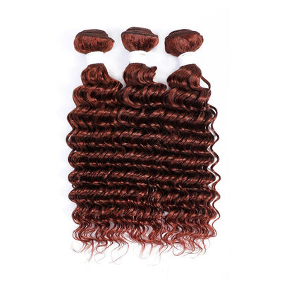 Auburn Red 3 Human Hair Bundles Deep Wave (33#)