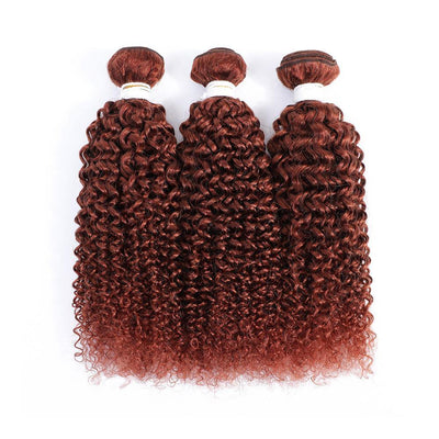 Kemy Hair Auburn Red 3 Human Hair Bundles Kinky Curly (33#) - Kemy Hair