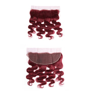 Kemyhair Human Hair 3 Bundles with 4×13 Lace Frontal Body Wave (Burgundy)