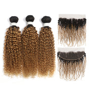 Kinky Curly Ombre Honey Blonde 3 Bundles with one Free/Middle Part Lace Frontal