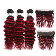Deep Wave Ombre Burgundy Red 3 Bundles with Lace 4×13 Lace Frontal (T1B/BURG) (4346762756166)