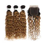 Water Wave Ombre Honey Blonde 3 Bundles with one Free/Middle Part Lace Closure