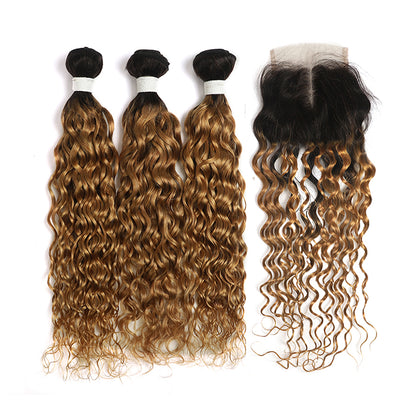 Water Wave Ombre Honey Blonde 3 Bundles with one Free/Middle Part Lace Closure (4330231365702)