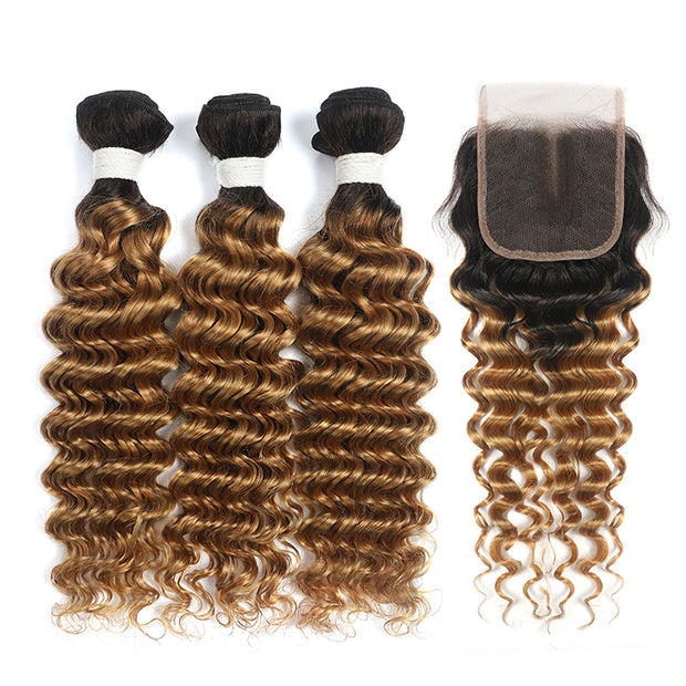 Deep Wave Ombre Honey Blonde 3 Bundles with one Free/Middle Part Lace Closure (4330047864902)