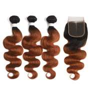 Ombre 30 Body Wave 3 Human Hair Bundles with One 4×4 Free/Middle Lace Closure