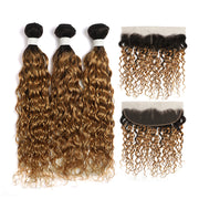 Water Wave Ombre Honey Blonde 3 Bundles with one Free/Middle Part Lace Frontal (4330227728454)