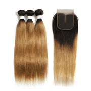 Ombre 27 Straight 3 Human Hair Bundles with One 4×4 Free/Middle Lace Closure
