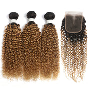 Kinky Curly Ombre Honey Blonde 3 Bundles with one Free/Middle Part Lace Closure (4330075357254)
