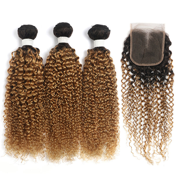 Kinky Curly Ombre Honey Blonde 3 Bundles with one Free/Middle Part Lace Closure