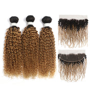 Kinky Curly Ombre Honey Blonde 3 Bundles with one Free/Middle Part Lace Frontal (4330073194566)