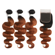 Ombre 30 Body Wave 3 Human Hair Bundles with One 4×4 Free/Middle Lace Closure (4251427340358)