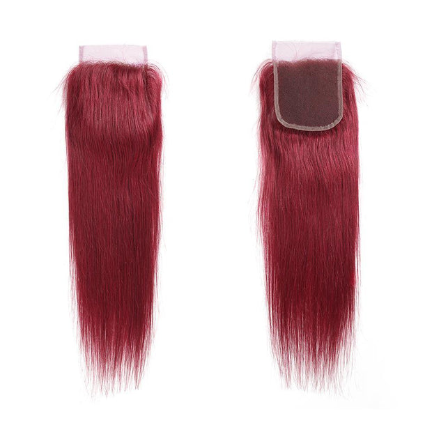 Kemyhair  Human Hair 4 Bundles with 4×4 Lace Closure Straight (Burgundy)