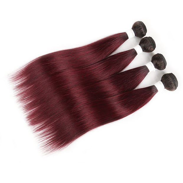 Straight Ombre 99J Four Human Hair Bundles 8''-26''