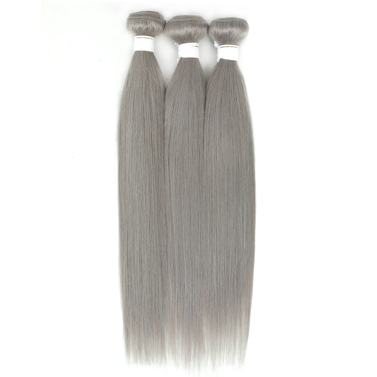 Kemy Hair Straight Silver Gray Remy 3 Human Hair Bundles 10''-26'' (4595280511046)