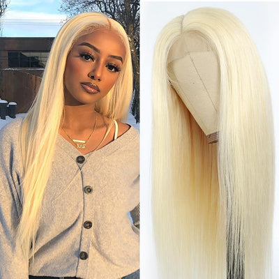 "Kemy Hair Custom 613 Blond Human Hair 4X4 Lace Closure wigs 10""-28"" - Kemy Hair"