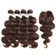 Body Wave Chocolate Brown Human Hair Four Bundles Weave with One   Free/Middle Part 4×4 Lace Closure (4)