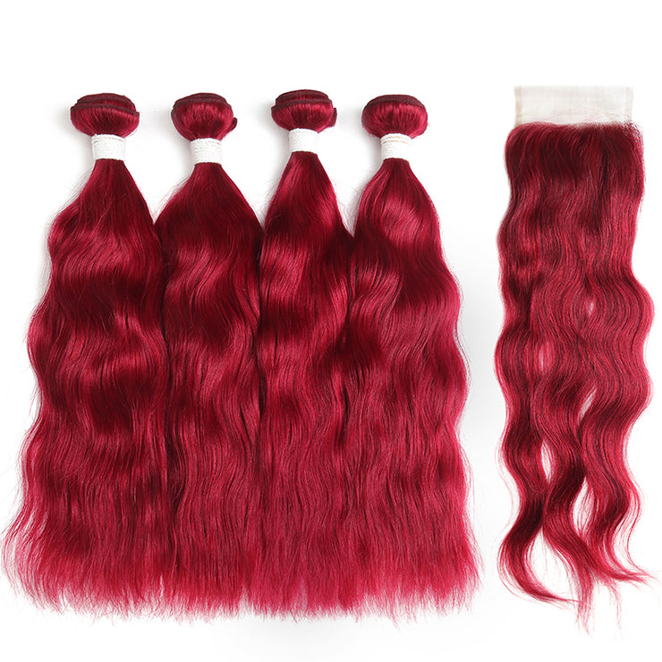 Natural Wavy Burgundy Red Human Hair 4 Bunldes with one 4×4 Free/Middle Part Lace Closure (BURG) (3966484381766)