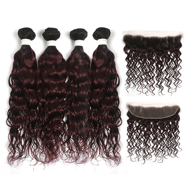 Water Wave Ombre Maroon Red 4 Hair Bundles with One Free/Middle Part Lace 4×13 Frontal(T1B/99J)