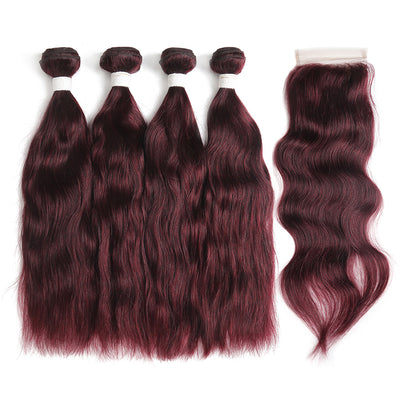 Natural Wavy 99J Human Hair 4 Bunldes with one 4×4 Free/Middle Part Lace Closure (99J) (3966482153542)