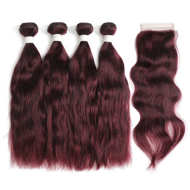 Natural Wavy 99J Human Hair 4 Bunldes with one 4×4 Free/Middle Part Lace Closure (99J)