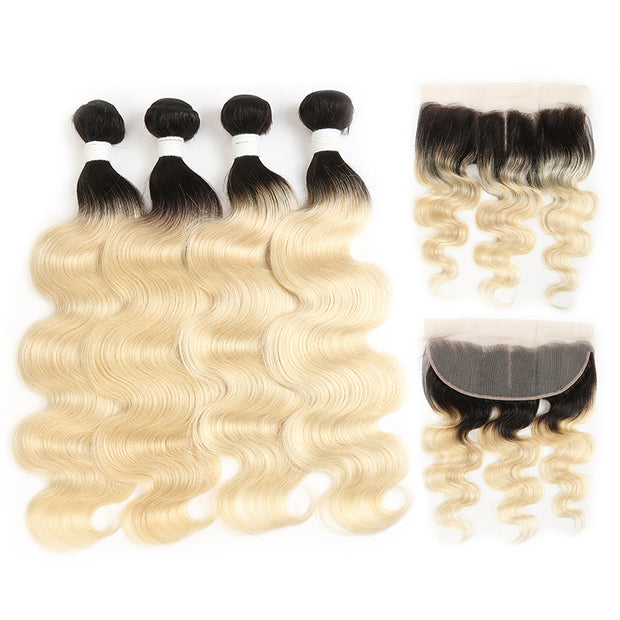Ombre Blond Body Wave Remy 4 Human Hair Bundles with One 4×13 Free/Middle Lace Frontal (1B/613)
