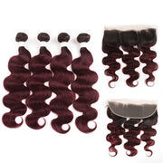 Ombre 99J Body Wave 4 Human Hair Bundles with One 4×13 Free/Middle Lace Frontal