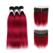 Ombre BURG Straight 3 Human Hair Bundles with One 4×13 Free/Middle Lace Frontal