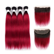 Ombre BURG Straight 4 Human Hair Bundles with One 4×13 Free/Middle Lace Frontal