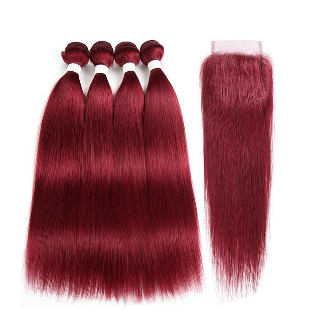 Kemyhair  Human Hair 4 Bundles with 4×4 Lace Closure Straight (Burgundy) (2840803246180)