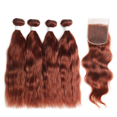 Natural Wavy 33 Human Hair 4 Bunldes with one 4×4 Free/Middle Part Lace Closure (33)