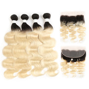 Ombre Blond Body Wave Remy 4 Human Hair Bundles with One 4×13 Free/Middle Lace Frontal (1B/613) (3947296391238)