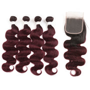 Ombre 99J Body Wave 4 Human Hair Bundles with One 4×4 Free/Middle Lace Closure (3948167692358)