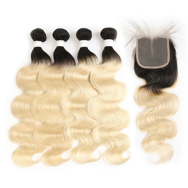 Ombre Blond Body Wave Remy 4 Human Hair Bundles with One 4×4 Free/Middle Lace Closure (1B/613) (3947290165318)