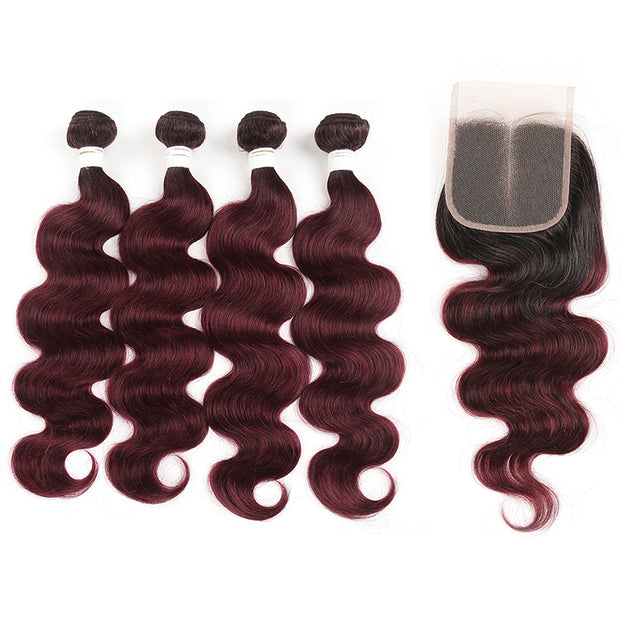 Ombre 99J Body Wave 4 Human Hair Bundles with One 4×4 Free/Middle Lace Closure