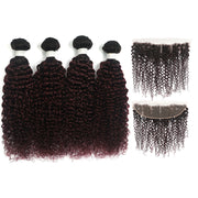 kinky curly Ombre Maroon Red 4 Hair Bundles with One Free/Middle Part Lace 4×13 Frontal(T1B/99J)
