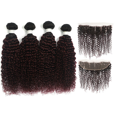 kinky curly Ombre Maroon Red 4 Hair Bundles with One Free/Middle Part Lace 4×13 Frontal(T1B/99J) (4340094042182)