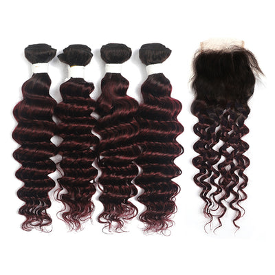 Deep Wave Ombre Maroon Red 4 Hair Bundles with One Free/Middle Part Lace 4×4 Closure(T1B/99J) (4337456644166)