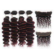 Deep Wave Ombre Maroon Red 4 Hair Bundles with One Free/Middle Part Lace 4×13 Frontal(T1B/99J) (4338206638150)